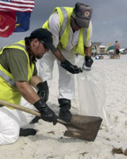 Workers toil to clean up beach sand